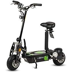 Patinete Scooter tipo moto Eléctrico dos ruedas, Color Negro, Plegable, Con suspensión, Motor de 1000W, Velocidad hasta 30-40km/h, Autonomía hasta 20km. Retrovisores, Luz foco y luz LED de freno.