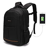 Modoker Laptop Backpack for Womens Mens, Black Business Travel Rucksack Vintage Gym School Bags with USB Charging Port, Anti-Theft Backpacks