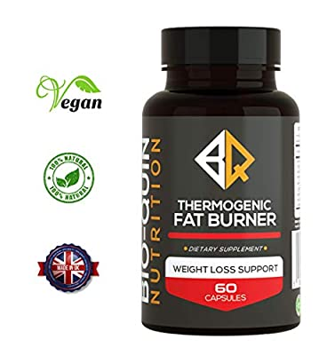 Thermogenic Fat Burner | Vegan Friendly | Weight Loss | Dietry Supplement | Strong Fat Burners | 1 Month Supply | Made in UK | 100% Natural Ingredients by Bio-Quin Nutrition