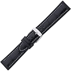 Eichmüller Black Alligator Grain, Contrast Stitching Watch Strap Chrono 22 mm
