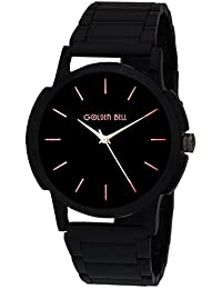 Golden Bell Original Black Dial Black Stainless Steel Chain Analog Wrist Watch For Men - GB-744