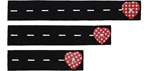 Be Mammy Damen Hosenerweiterung Gummi 3er Pack BE20-126 (Schwarz/Rot) (Breites Bauchband)