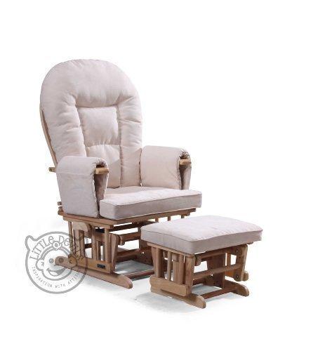 Little Devils Direct - Sedia a dondolo reclinabile per gravidanza/allattamento con poggiapiedi e telo protettivo, colore: panna
