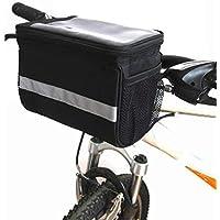 XPhonew Cesta para manillar de bicicleta, 3,5 L bolsa para bicicleta, bolsa delantera con función de pantalla táctil, bolsa de PVC transparente y rayas reflectantes de color gris plateado para