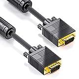 deleyCON 7,5m VGA Kabel 15pol - S-VGA Monitorkabel D-Sub-Stecker 1080p Full HD geschirmt Knickschutz 2 Ferritfilter vergoldete Kontakte - Schwarz