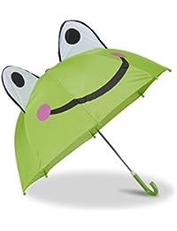 Relaxdays Kinderregenschirm 3D Tiermotive, Regenschirm für Mädchen und Jungen, kleiner Stockschirm ab 3 Jahren, bunt