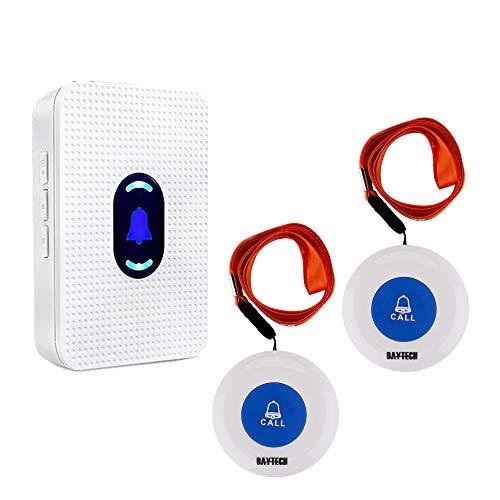 Sistema di allarme senza fili, con pulsante di chiamata sos, per pazienti, anziani, personale a casa, infermieri, anziani e disabili, 1 ricevitore e 2 trasmettitori portatili