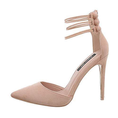 Ital-Design Damenschuhe Pumps High Heel Pumps Synthetik Altrosa Gr. 36 Metallic-stiletto Heel