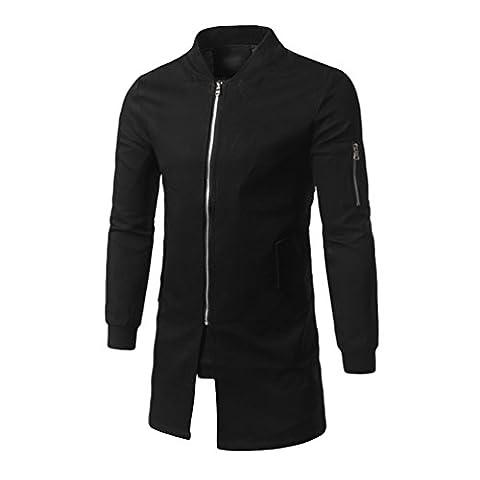 YAANCUN Homme Mode Trench Coat Veste Blouson Manches Longues Manteau Zip Trench Noir