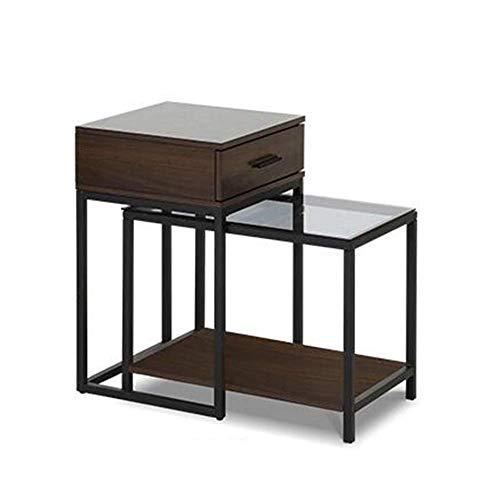 BinLZ-Table Ende Couchtisch Set Nesting Sofa Side Snack Tisch Wohnzimmer Akzent Holz Teleskop Beistelltisch Gehärtetem Glas Metallrahmen, Braun -
