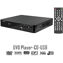 LONPOO Lettore DVD con Porta HD, Porta USB, Compatibile Divx, Nero