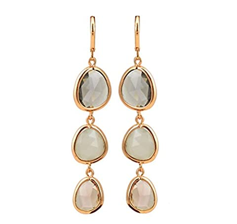 SunIfSnow Girls Exquisite Three Vertical Drop Charms Colorful Crystal Stone Linked Dangle Earrings Gray - 14k Yellow Gold Leaf