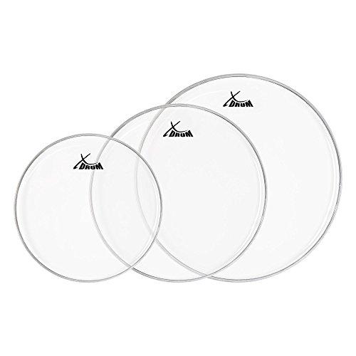 """XDrum Clear Schlagzeugfell SET (transparent, einschichtig) 10"""" (25,4 cm) 12"""" (30,5 cm), 14"""" (35,5 cm)"""