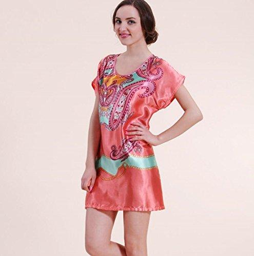 ZC&J Ms. Sommer beiläufiger loser kurzärmeliger Nachthemd Schlafanzug sexy Badrock dünner Abschnitt,B1,one size A9