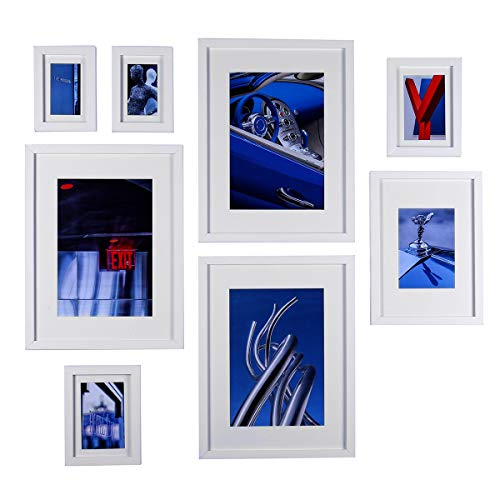 Conjunto de marcos para cuadros de madera de vidrio de alta definición para decoración de paredes y mesas, marcos blancos - juego de 8