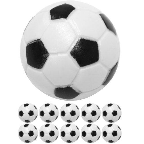 10 Stück Kicker Bälle aus ABS, Farbe: schwarz/weiß (klassische Fußball-Optik), hart und schnell, Durchmesser 31mm, Tischfussball Kickerbälle Ball Test