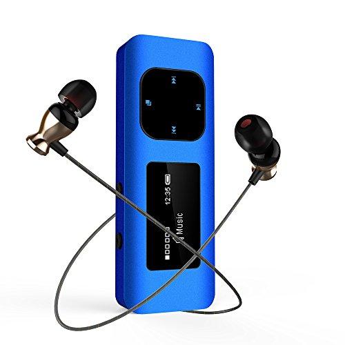 Reproductor MP3 Running , MP3 Clip en Diseño de Carcasa Metálica Anti choque, 16GB Mini Mp3 con Radio FM / Brazalete / Clip / Auriculares Para Correr, Senderismo y Camping