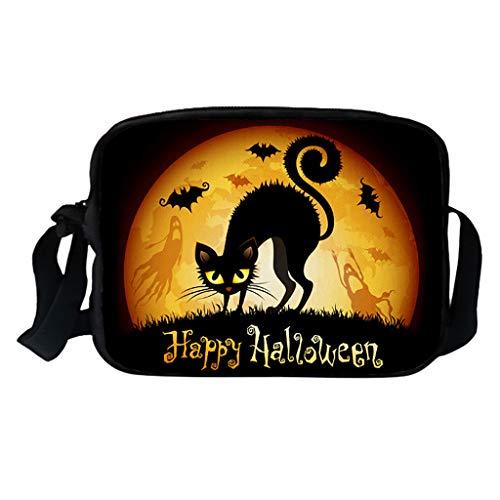 KIMODO Damen Männer Halloween Schultertasche Kürbis Drucken Messenger Bag Neue Elegante Umhängetasche Mode Freizeittasche (Passport-halter Männer Für Hals)