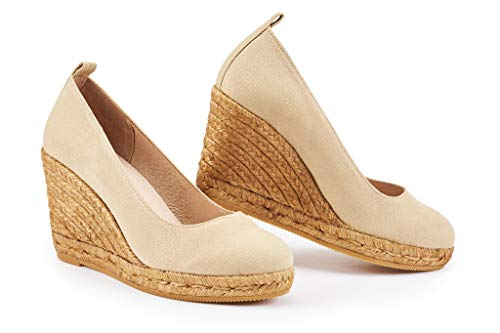 Gold Glitter Platform Sandal (VISCATA Barcelona , Damen Espadrilles ,Beige,39 EU)