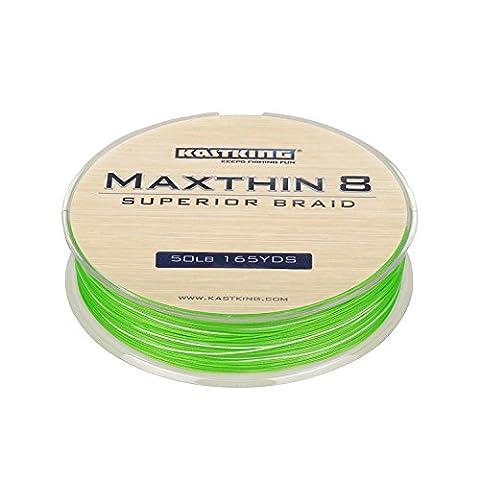 kastking maxthin8Braid Ligne de pêche–30% plus fines que Competitor marque 165yds/150m Super Résistant 8Mèches Premium tressé Line–2015iCast Award Winning marque–[2016New Release vente] Aqua Vert 30 LB (14.1KG)(8