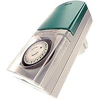 4smile Zeitschaltuhr Außenbereich Tempo – mechanische Zeitschaltuhr Steckdose, IP44 spritzwassergeschützt, hohe Schaltleistung, mit Kinderschutz, grau-grün