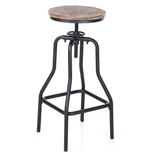 IKAYAA Anti205 - Silla Ronda de Madera de Pino Natural (Adjustable de Altura, Estilo Industrial) - para Uso de Bar Pub Bistro Barra Cocina Cafetería Comedor Jardín