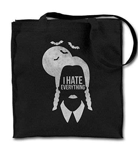 I Hate Everything Wednesday Addams Schwarz Canvas Tote Tragetasche, Tuch Einkaufen Umhängetasche