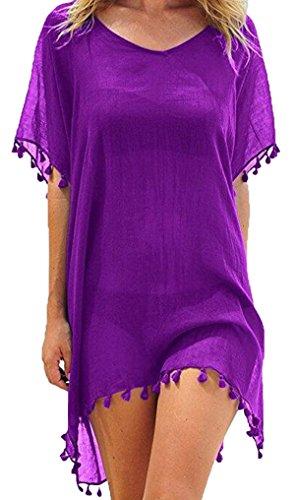 Damen Strandkleid Sommerkleid Bikini Cover Up Sommer Bademode Longshirt Tunika Strandponcho (lila)