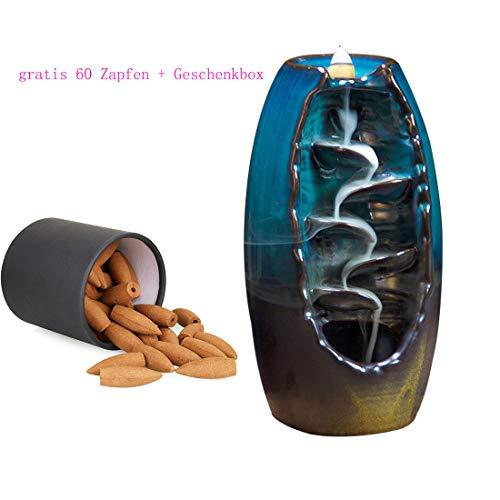 Räucherstäbchenhalter mit 60PCs Rückfluss Räucherkegel Räucherstäbchen Halter, Chinesische Keramik Rückfluss Räuchergefäß -