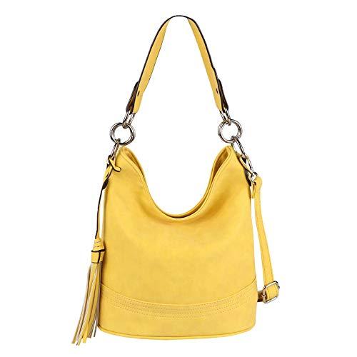 OBC Damen Tasche HOBO-Bag Shopper Umhängetasche Handtasche Schultertasche Henkeltasche Leder Optik Beuteltasche Crossover Tote-Bag(Gelb 29x25x17) - Gelbe Hobo Handtasche