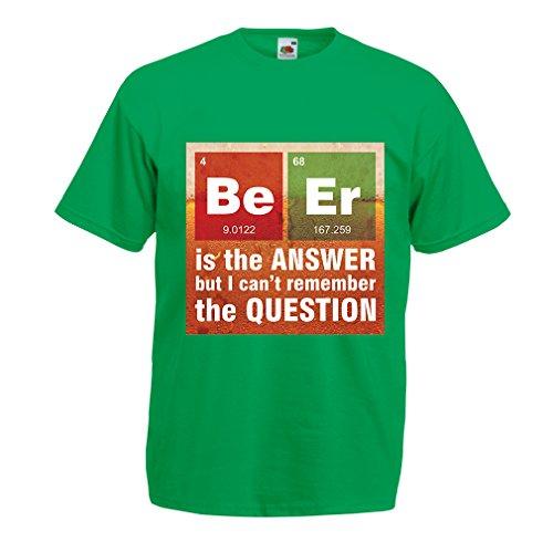 lepni.me Männer T-Shirt Das Bier ist die Antwort! Intelligenter Wissenschaftler, Chemie-Liebhaber Geschenk (X-Large Grün Mehrfarben) - Wissenschaftler Grünes T-shirt