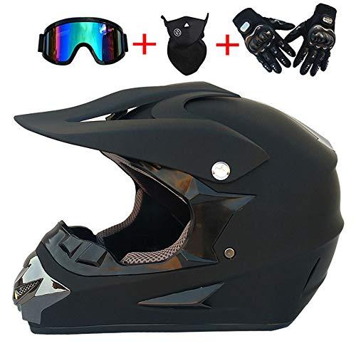 XBTIC Motocross Quad Crash Helmet Full Face Off Road Downhill Dirt Bike MX ATV Guantes De Casco De Moto para Adultos, Gafas Protectoras, Máscara De 4 Piezas (Negro Mate),XL