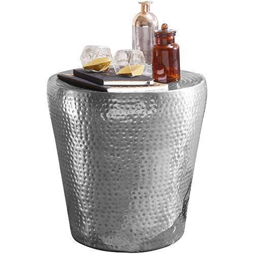 FineBuy Beistelltisch VAKRIM 41x41x41cm Aluminium Silber Dekotisch orientalisch rund | Kleiner Hammerschlag Abstelltisch | Designer Ablagetisch Metall modern | Anstelltisch schmal