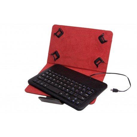 """Phoenix Technologies PHKEYCASE7-8 - Funda universal y teclado con cable para tablet/lector de eBooks de 7-8"""", Micro USB, negro"""