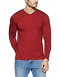 Monte Carlo Mens Solid Regular Fit T-Shirt (217039918-7_Red_42)