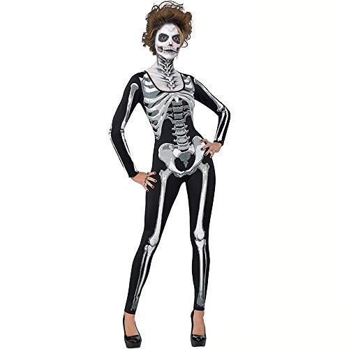 Alxcio Halloween Skelett Kostüm für Damen, Catsuit mit Skelett Unheimlich Party Cosplay Kostüm - S