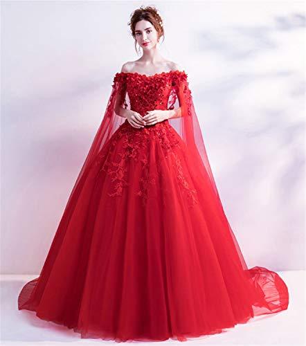 d,Mädchen Prinzessin Trägerlos Rückenfreies Stilvolles Hochzeitskleid Perfect Line Schleppte Große Schleppe Mit Spitze Rot ()