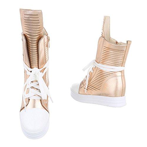 Donna Ital oro Stivaletto Design Rosa Pantofole a qIwPIB