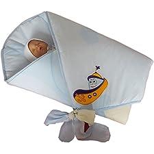 BlueberryShop Hochwertige Wickeldecke Decke Bettdecke für Neugeborene Baby 100% Baumwolle Bestickt ( 0-3m ) ( 78 x 78 cm ) Blau Boot