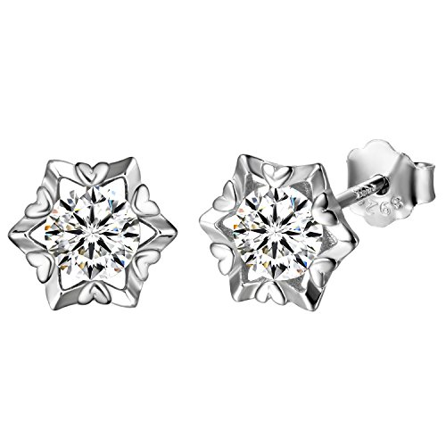aroncent Women 925Silver Snowflake Earrings Mosaic Zirconia Gift For Valentine's Day/Christmas/Birthday