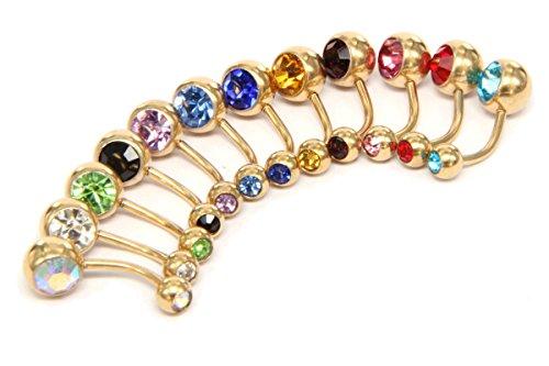 Beydodo piercing ombelico pendenti acciaio chirurgico piercing ombelico kit 12pezzi sfere colorate zirconia cubico