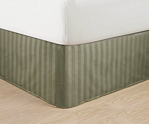 Wrinkle Free - Egyptian Quality STRIPE Bed Skirt - Pleated Tailored 14 Drop - All Sizes and Colors , Full , Green by Elegant Comfort Pleated Full Skirt