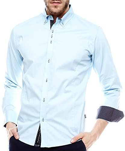 Carisma Herren Hemd 8333 Streetfashion Streetwear Casual Menswear Slimfit High Quality langarm S-XXL Light Blue