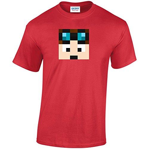 Dan TDM T-Shirt Erwachsene & Kinder Dan TDM Gamer Youtube Unisex Tshirt Rot - Rot