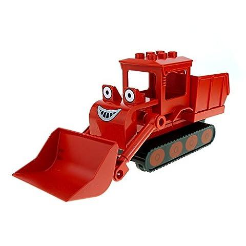 1 x Lego Duplo Bau Fahrzeug Buddel rot schwarz Bob der Baumeister Figur Raupe Planierraupe Bulldozer Muck dmuckc01