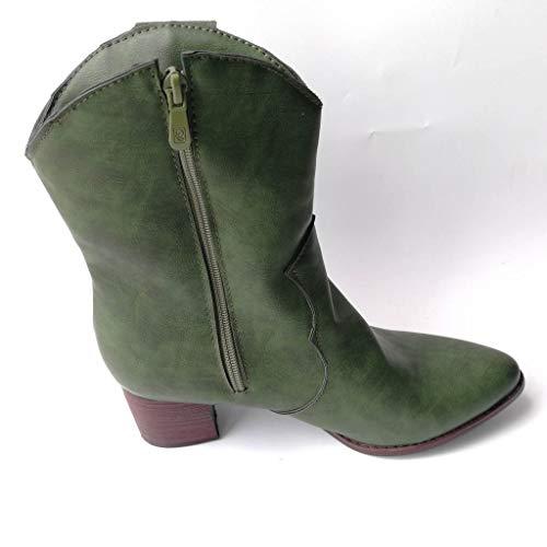 TWIFER Botas de Mujer Invierno Zapatos de tacón Alto Cuadrado Cuero Muslo Alta Botas de la Bomba Zapatos...