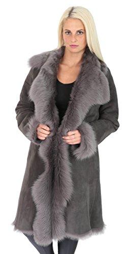 Damen Super Luxus Toscana Langer Mantel Real Schaffell GRAU Shearling Wildleder Finish Jacke - Pamela (S - EU 36)