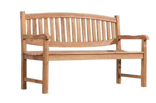 CLP Teakholz-Gartenbank OXFORD mit Lehne I Holzbank für den Garten I Sitzbank mit Armlehnen | In verschiedenen Größen wählbar 120x64 cm