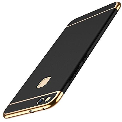 Huawei P10 Lite Hülle, Huawei P10 Lite Handyhülle Ultra Slim Case Hart PC Hard Hardcase 360 Grad Schutzhülle Bumper Cover Plastik Schutz Tasche Schale für Huawei P10 Lite Case Cover (3 in 1 Schwarz) Flip Plus Audio