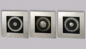 casablanca 3d glas wandbilder mit silbernen holz ornamenten holzrahmen silber. Black Bedroom Furniture Sets. Home Design Ideas